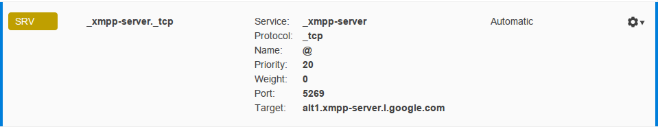 CloudFlare SRV Record